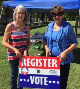 RCRTA members, Mary Merrill and Judy Whitehill register voters at MTSU